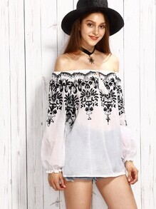 White Embroidered Tie Front Off The Shoulder Top