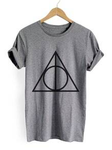 Heather Grey Geometric Print T-shirt