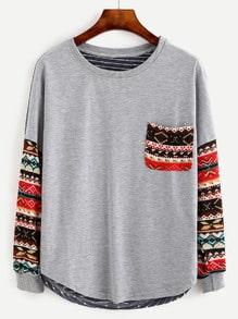 T-shirt imprimé tribal manche longue avec poche - multicolore