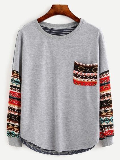 Multicolor Drop Shoulder Tribal Sleeve T-shirt
