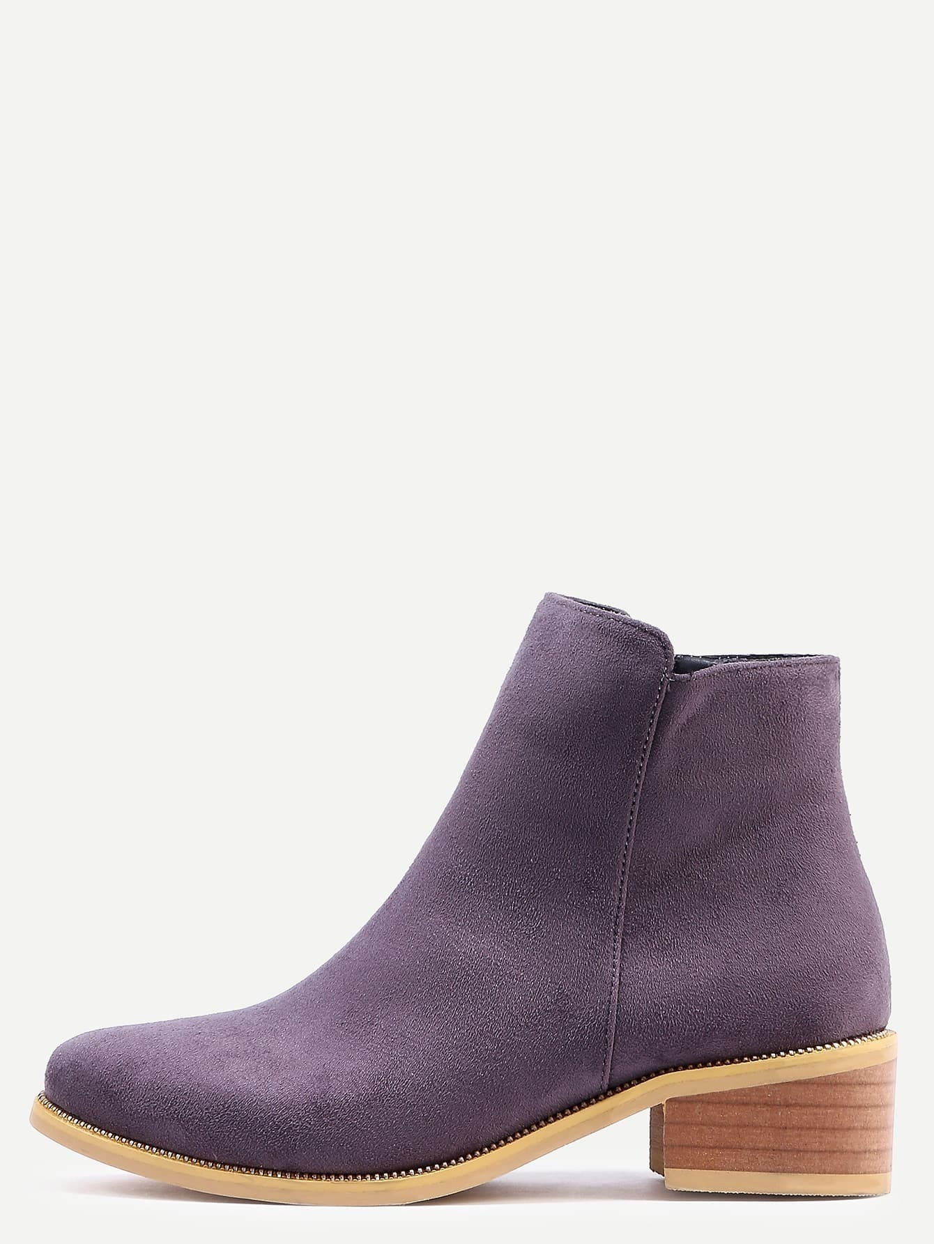 grey suede chunky heel boots