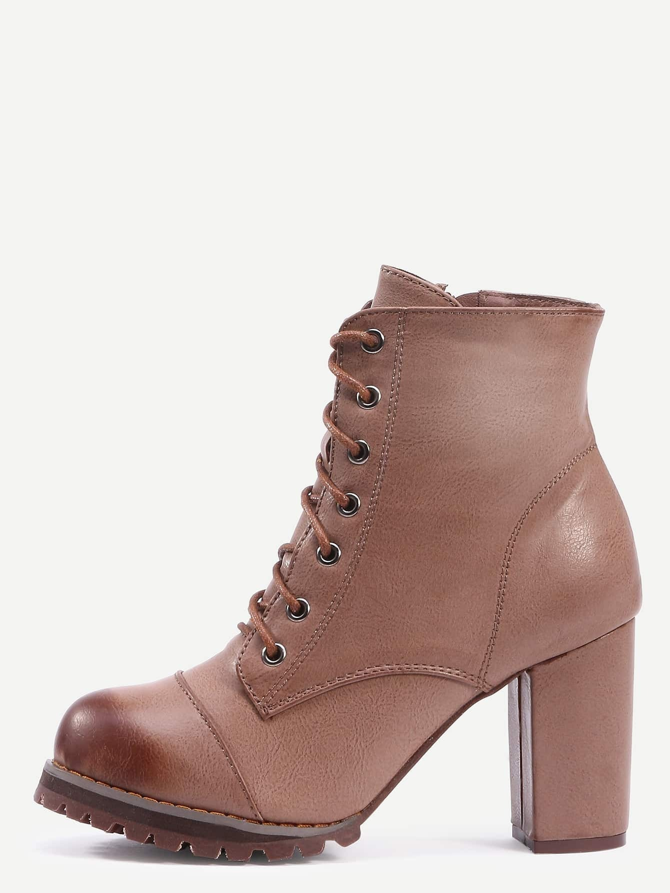 brown brush toe lace up chunky heel boots