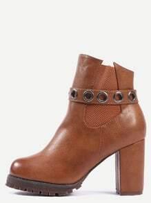 Brown High Heel Zipper Boots
