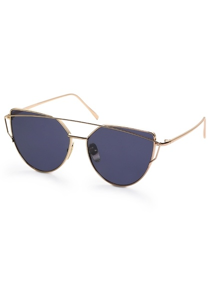 Gold Frame Black Reflective Lenses Sunglasses