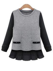 Heather Grey Contrast Sleeve Ribbed Top With Ruffle Trim