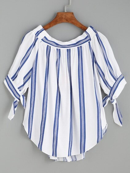 Blue Vertical Striped Tie Sleeve Curved Hem Blouse