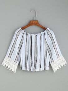 Multicolor Vertical Striped Crochet Trim Top