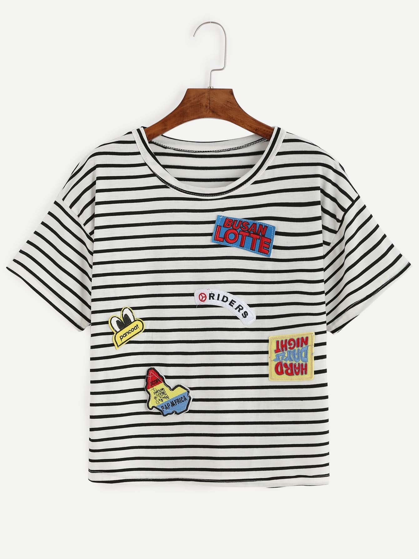 Black white striped embroidered patch t shirt