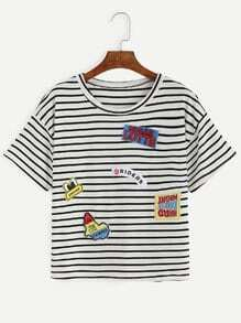 T-Shirt mit Streifen und Stickereien - schwarz und weiß