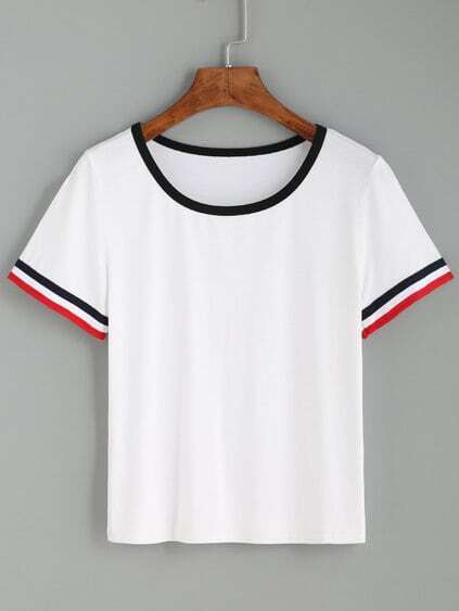White Striped Cuff Short Sleeve T-shirt