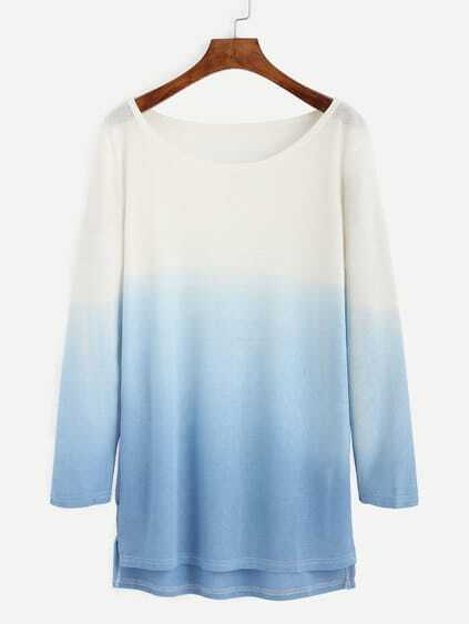 Ombre Scoop Neck High Low Knitted T Shirt