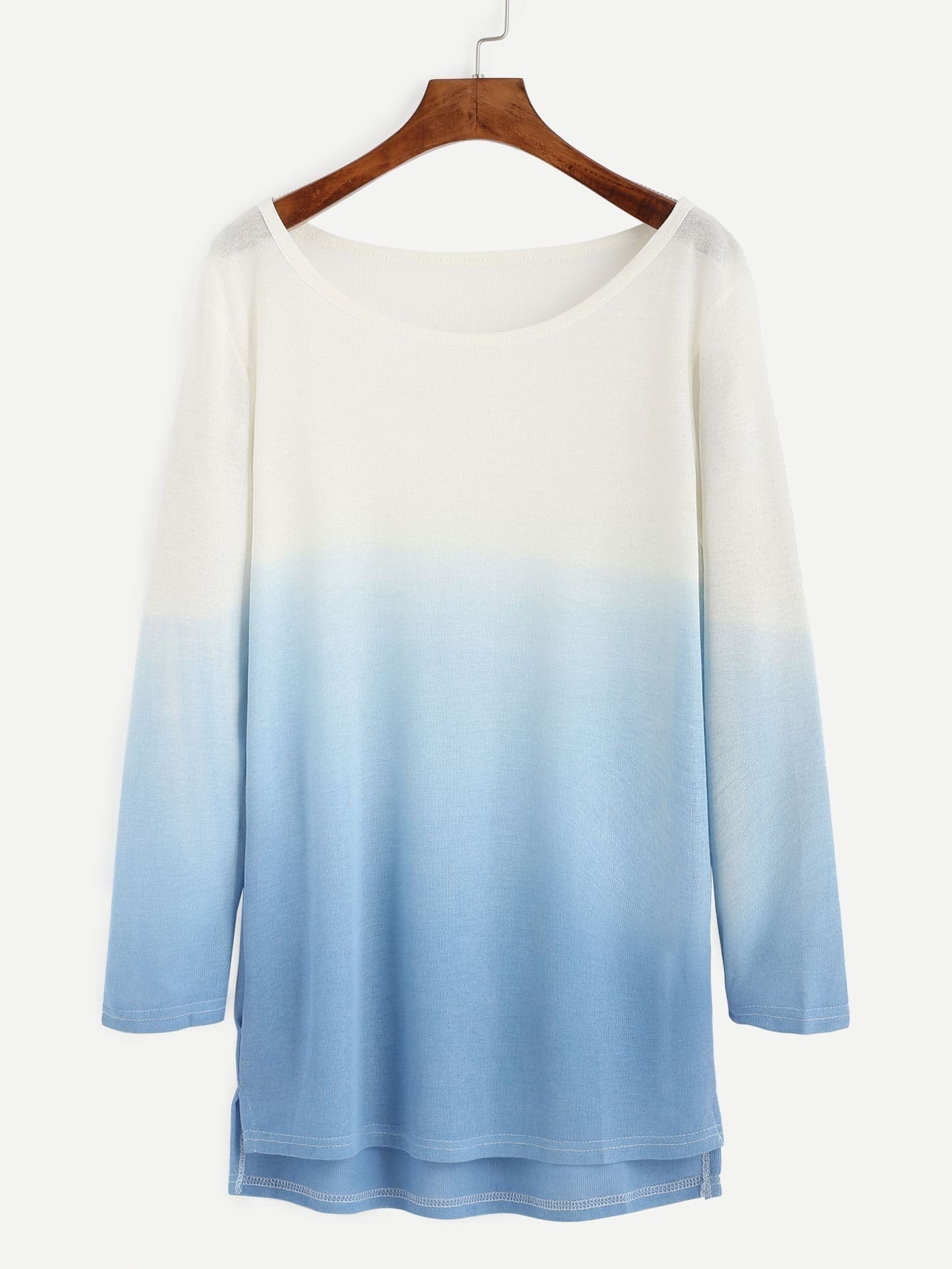 Ombre Scoop Neck High Low Knitted T Shirtfor Women Romwe