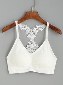 Brassière en crochet dos motif Y - blanc