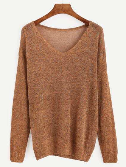 Brown Marled Knit Drop Shoulder Sweater