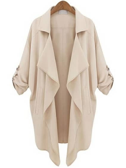 Apricot Roll Tab Sleeve Waterfall Collar Duster Coat