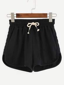 Black Drawstring Waist Jersey Shorts
