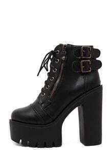 Black Faux Leather Lace Up Side Zipper Buckle Platform Ankle Boots