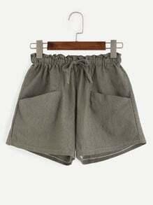 Olive Green Drawstring Shorts With Pockets