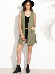 Olive Green Dual Pocket Front Longline Collarless Vest