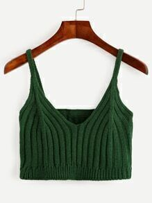 Green Ribbed Knit Crop Cami Top