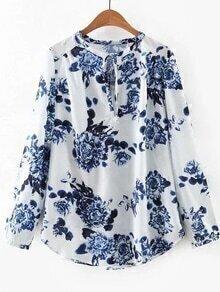Blusa floral escote con cordón - blanco