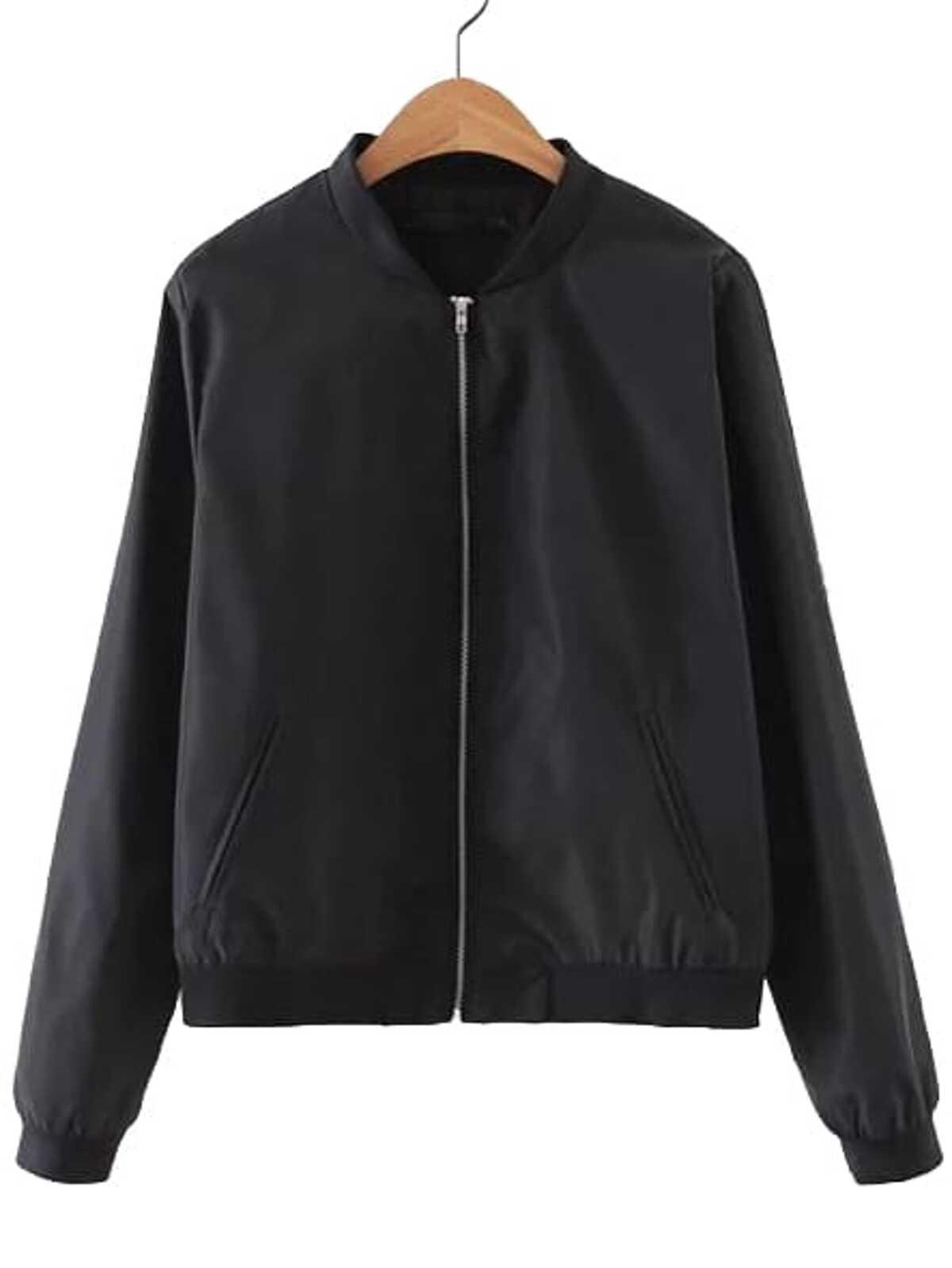 黑色 羅紋針織 袖口 口袋 樸實 外套