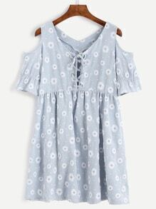 Blue Daisy Print Cold Shoulder Lace Up Dress