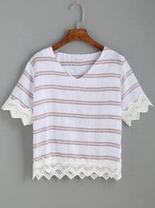 V Neck Striped Crochet Trim Top
