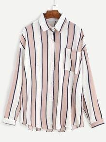 Pink Vertical Striped Pocket Front Blouse