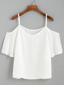 White Cold Shouder Ruffle Top