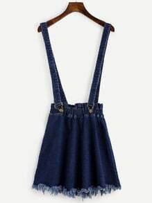 Falda denim con tirantes - azul