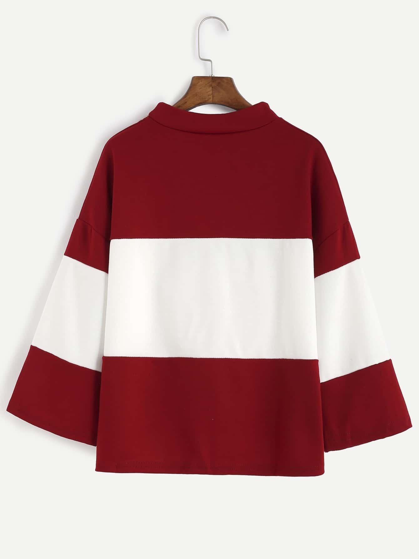 T shirt asym trique col rond manche longue rouge et for Interieur paupiere inferieure rouge