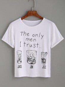 T-Shirt Buchstaben Druck - weiß