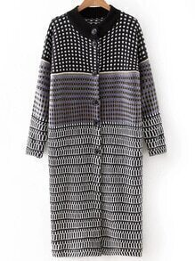 Black And White Plaid Button Long Cardigan