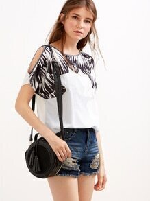 White Short Sleeve Printed T-shirt