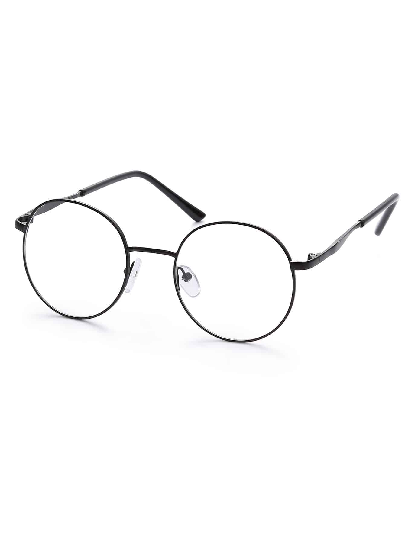 Black Metal Frame Glasses : Black Metal Frame Round Glasses