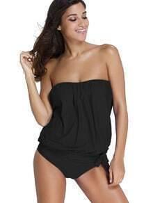 Bikini sin tirantes con lazo lateral - negro