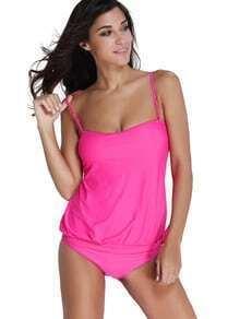 Bikini de tirantes finos con lazo lateral - rosa