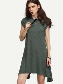 Robe asymétrique manche cap - vert kaki