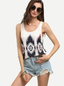 Multicolor Print Scoop Neck Tank Top