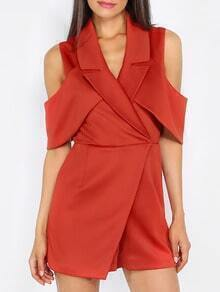 Red Sleeveless Roll-up Collar Jumpsuit