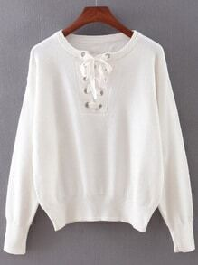 White Elastic Cuff Lace Up Sweater