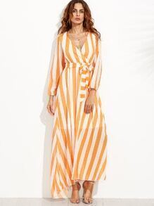 Vertical Striped Deep V Neck Self Tie Dress