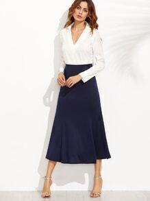 Color Block Deep V Neck Combo Dress