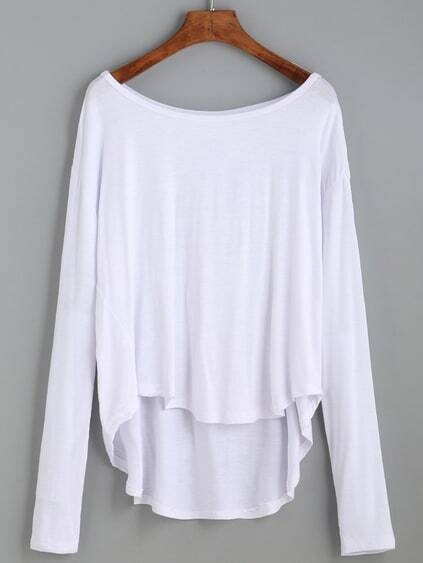White Drop Shoulder High Low T-shirt