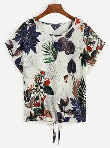 Camiseta tropical estampada ribete con cordón