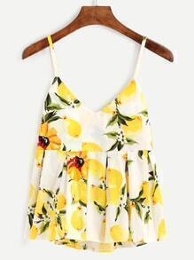 Lemon Print Pleated Cami Top