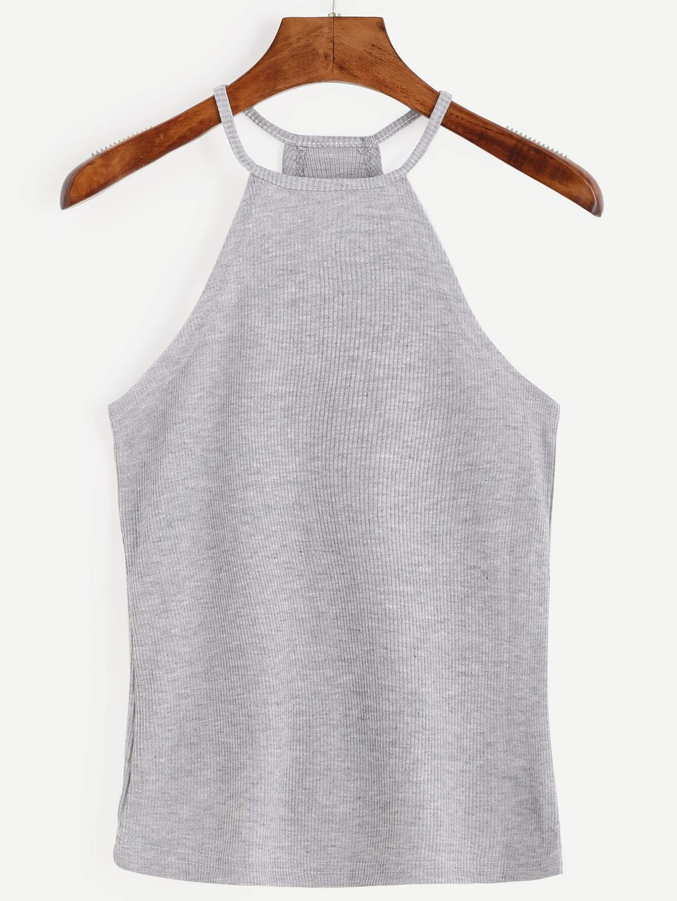 Grey Halter Ribbed Cami Top