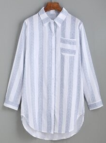 Blouse à rayures verticales avec poche - bleu