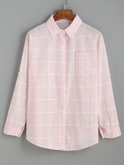 Pink Grid Drop Shoulder Blouse